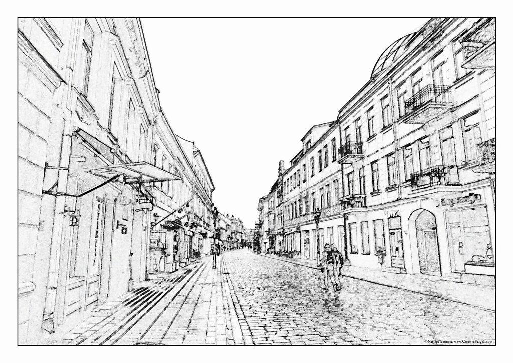 Kaunas greyscale coloring page